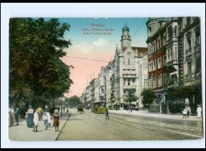 Y18556/ Breslau Kaiser Wilhelm Str. Straßenbahn AK 1916