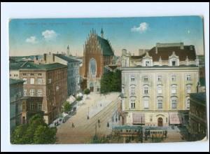 Y18557/ Krakow Krakau Dominikaner-Platz Straßenbahn AK 1914