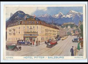 Y18580/ Salzburg Hotel Pitter Autos Straßenbahn Künstler AK Aug. Moser