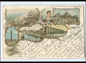Y18606/ Groete uit Scheveningen Litho Ak 1898