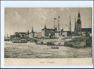V1542/ Riga Dünaquai Hafen Lettland ca.1920