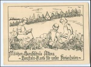 XX12098/ Hamburg Altona Mädchen-Berufsschule Baustein-Karte AK ca.1930