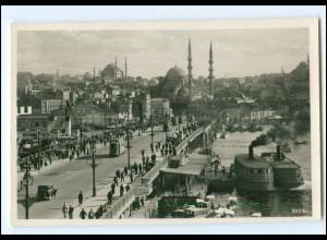XX12113/ Istanbul Galatabrücke mit Straßenbahn Foto AK Türkei