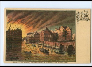 XX13721/ Gruß aus Alt-Hamburg der große Brand 1842 Feuer Litho AK ca.1900