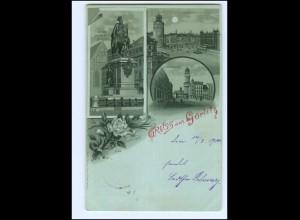 XX12575/ Gruß aus Görlitz Litho Mondschein AK 1900