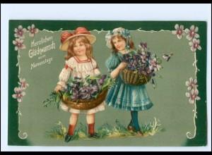 XX12529/ Namenstag Mädchen mit Blumen Litho Präge AK ca.1910