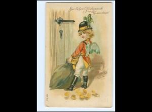 XX12531/ Namenstag Amor mit Geld Münzen Litho Präge AK ca.1910