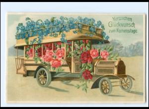 XX12746/ Namenstag Omnibus Blumen Litho Präge AK 1912
