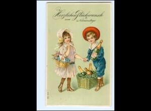 XX12552/ Namenstag Kinder mit Sektflaschen Litho Präge AK 1910