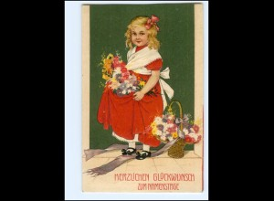 XX12548/ Namenstag Mädchen mit Blumen Litho Präge AK 1912