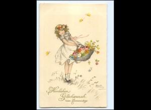 XX12550/ Namenstag Mädchen mit Blumenkorb Hannes Petersen AK 1934