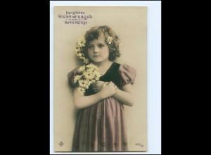 XX12551/ Namenstag Mädchen mit Blumen schöne Foto AK 1909