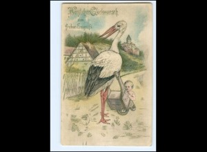 XX12546/ Storch mit Baby Litho Prägedruck AK 1910 Geburt