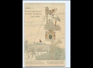 XX12545/ Storch mit Baby und Telefon AK 1909 Niederlande