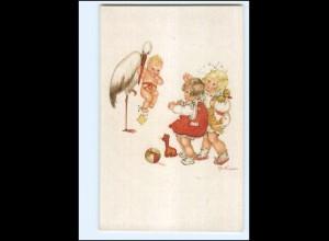 XX12559/ Geburt Storch bringt Baby Kinder Tilly v. Baumgarten Litho AK ca.1912
