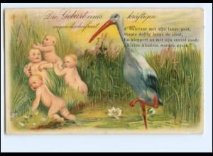 XX12558/ Geburt freudiges Ereignis Storch und Babys Litho Präge AK 1915