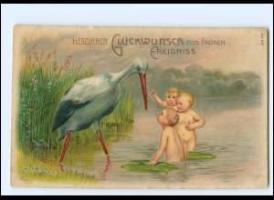 XX12557/ Geburt freudiges Ereignis Storch und Babys Litho Präge AK