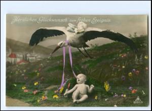 XX12555/ Geburt Storch bringt Baby schöne Foto AK ca.1910