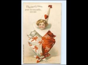 XX12564/ Kind als Pierrot schöne Litho Präge Karte ca.1900