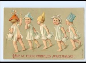XX12561/ Kinder mit Nachttopf schöne Litho Präge AK ca.1900