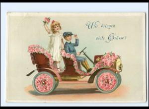 XX12554/ Viele Grüße ... Kinder fahren Auto Litho Präge AK 1911
