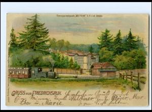 XX12751/ Gruß aus Friedrichsruh Eisenbahn Halt gegen Licht Meteor Litho AK 1899