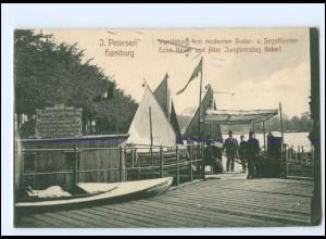 XX12482/ Hamburg Alster J.Petersen Vermietung von Ruder- und Segelbooten AK 1910