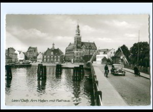 XX12342/ Leer Hafen mit Rathaus 60er Jahre AK