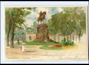 V1576/ Karlsruhe Kaiserdenkmal Litho Künstler AK KLEY 1900