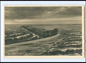 Y18677/ Sylt Hindenburgdamm Eisenbahn Foto AK 1934