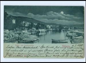 V1595/ Abbazia Hafen Mondschein AK 1899