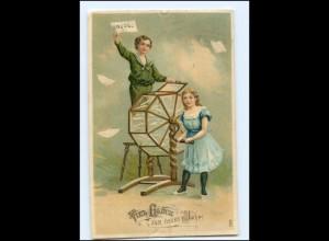 Y18713/ Neujahr Kinder Lostrommel Lotterie Litho Präge AK 1910