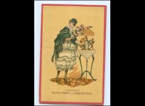 Y18710/ Geburtstag Künstler Litho AK K. Worm Jugendstil ca.1912 junge Frau