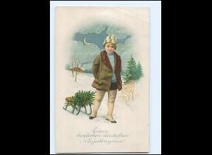 Y18712/ Neujahr Kind mit Schlitten Litho AK 1918