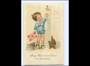 Y18714/ Neujahr Kind mit Hund Litho AK 1927