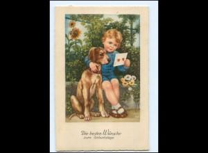Y18715/ Geburtstag Junge mit Hund AK ca.1940
