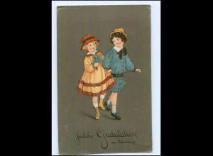 Y18717/ Geburtstag zwei Mädchen Litho AK 1928