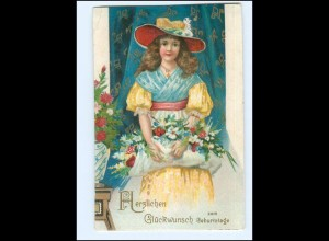 Y18718/ Geburtstag Mädchen mit Blumen Litho AK ca.1905