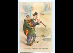 Y18719/ Geburtstag Männer musizieren Geige Klarinette AK ca.1930