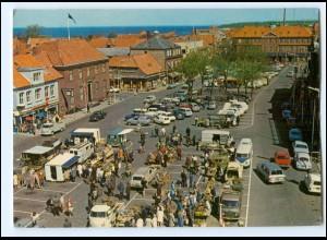 Y18728/ Bornholm Rönne St. Torv Dänemark AK Wochenmarkt Autos