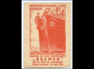 XX12987/ Privatganzsache Dampfer Bremen Stapellauf 1928 Wetft Deschimag AK
