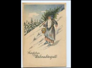 XX12726/ Weihnachten Weihnachtsmann mit Tannenbaum ca.1950