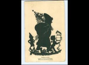 XX12697/ Weihnachtsmann Zwerg Schattenbild AK 1935