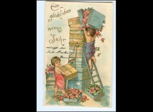 XX12696/ Neujahr Bluemn Kinder Litho Präge AK ca.1910