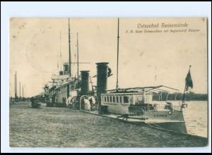 XX12833/ Swinemünde S.M. Yacht Hohenzollern mit Begleitschifff Steipner AK 1915