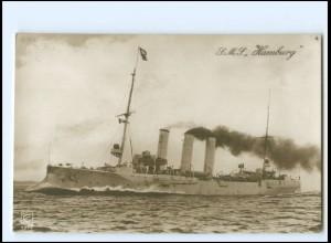 XX12893/ S.M.S. Hamburg Marine Kriegsschiff Foto AK ca.1915