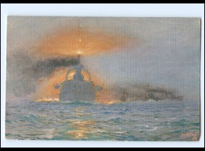 XX12896/ Tuck`s AK Marine Kriegsschiff - Nebelfahrt im Verbande H. Bohrdt WK1