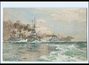 XX12898/ Tuck`s AK Marine Kriegsschiff - Exerzitien der Linienschiffe H. Bohrdt