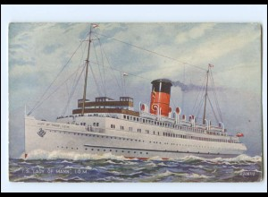 XX12853/ Dampfer T.S. Lady of Main I.O.M. AK Valentine`s Postcard ca.1912