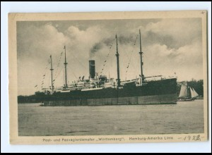 XX12860/ Dampfer Württemberg Hamburg-Amerika-Linie AK ca.1925